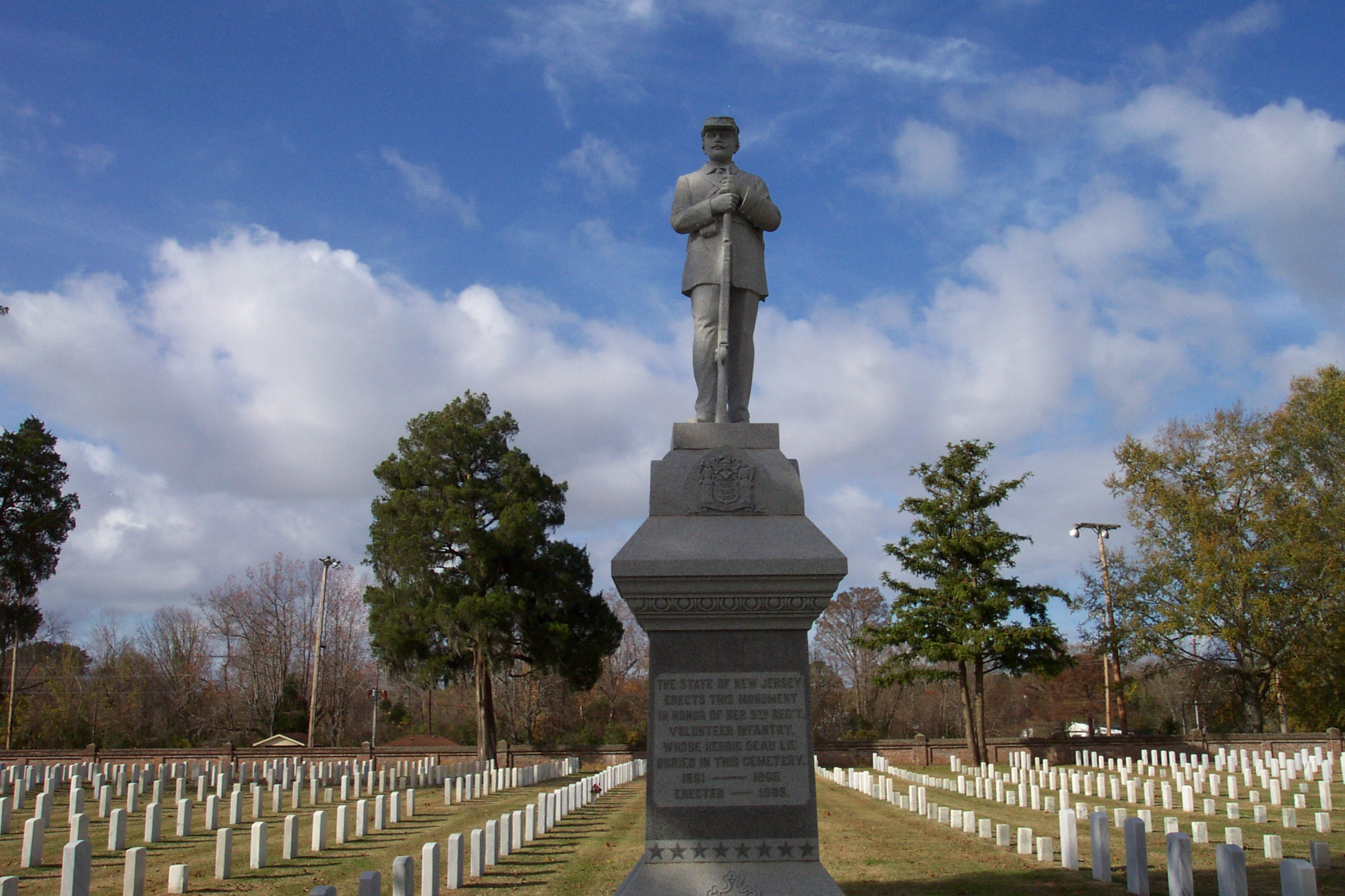 Monument to the New Jersey soldiers buried in New Bern National cemetery
