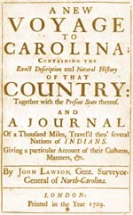 Lawson's first trip to NC led to the eventual settlement of New Bern